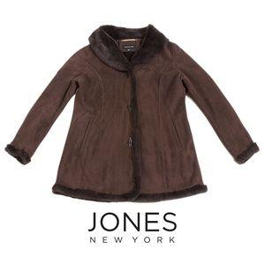 Jones New York Brown Faux Suede/Fur Jacket Coat M